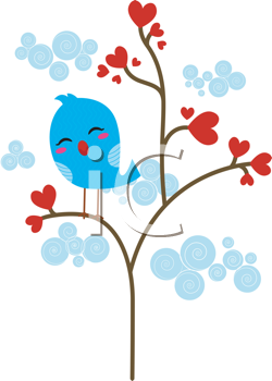 Royalty Free Clipart Image of a Bird in a Tree of Hearts