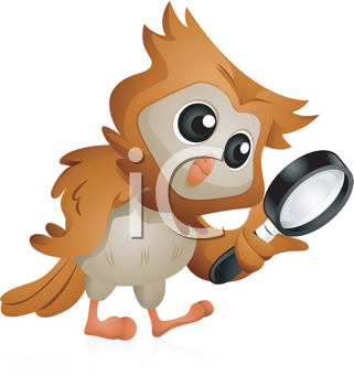 Royalty Free Clipart Image of an Owl With a Magnifying Glass