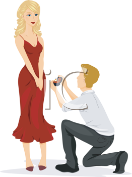 Royalty Free Clipart Image of a Man Proposing