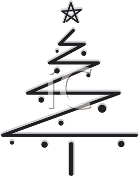 Royalty Free Clipart Image of a Black Zigzag Christmas Tree on White
