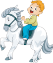 Royalty Free Clipart Image of a Boy on a Horse