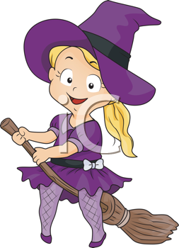 Royalty Free Clipart Image of Little Witch With a Broomstick