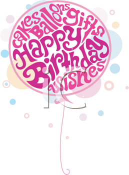 Royalty Free Clipart Image of a Large Birthday Balloon