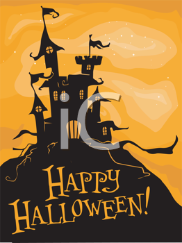 Royalty Free Clipart Image of a Creepy Looking Castle on a Halloween Greeting