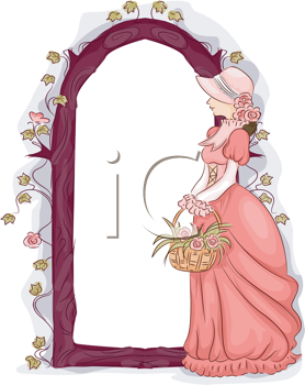 Royalty Free Clipart Image of a Floral Frame Featuring a Woman in a Gown Carrying Flowers