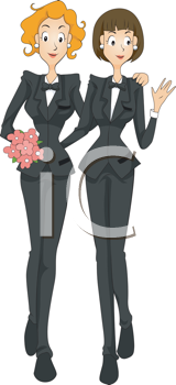 Royalty Free Clipart Image of a Lesbian Marriage
