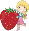Royalty Free Clipart Image of a Girl With a Large Strawberry