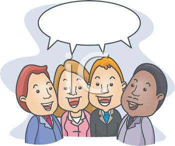 Royalty Free Clipart Image of Four People With a Speech Bubble