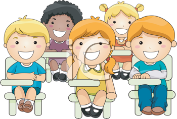 Royalty Free Clipart Image of a Small Group of Children in Class