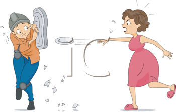 Royalty Free Clipart Image of a Woman Throwing Plates at a Man