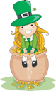 Royalty Free Clipart Image of a Girl Sitting on a Pot of Gold