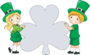 Royalty Free Clipart Image of Two Children in Irish Costume Holding a Shamrock