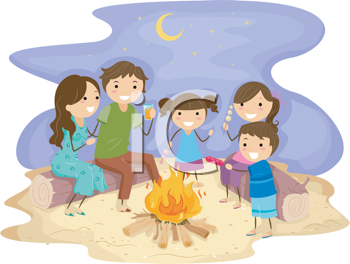 Royalty Free Clipart Image of a Family Around a Bonfire