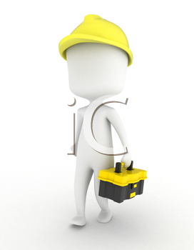 3D Illustration of a Man Carrying a Toolbox