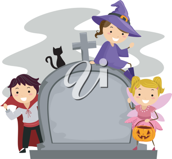 Illustration of Kids Posing Beside a Tombstone