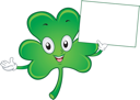 Illustration of a Shamrock Mascot Holding a Blank Board