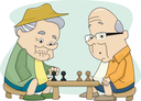 Royalty Free Clipart Image of Two Old Men Playing Chess