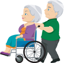 Royalty Free Clipart Image of a Man Pushing a Woman in a Wheelchair