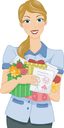 Royalty Free Clipart Image of a Woman Holding Gifts