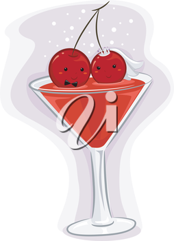 Illustration of Red Wine on Cocktail Glass with Cherry Bride and Groom on Top