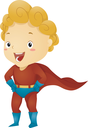 Illustration of a Little Kid Boy Superhero in a Superhero Pose