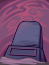 Halloween Illustration of a Blank Tombstone Framed by Trippy Pink Swirls