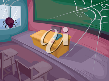 Halloween Illustration of a Classroom Littered with Spiderwebs