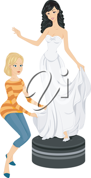Illustration of a Bride to be Fitting Her Bridal Gown