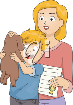 Illustration of a Boy Holding a Dog They Recently Adopted Happily