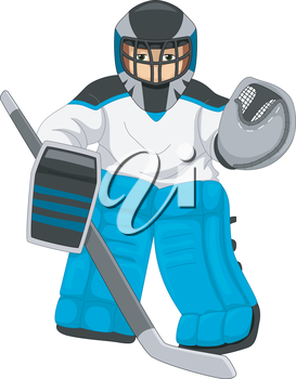 Illustration of a Man Dressed as an Ice Hockey Goalie