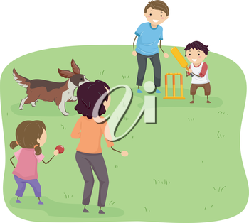 Illustration Featuring a Family Playing Cricket at a Park