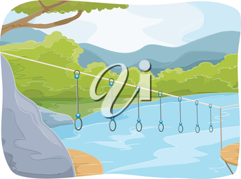 Illustration Featuring an Obstacle Course at a Summer Camp