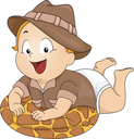 Illustration Featuring a Baby Wearing a Safari Costume