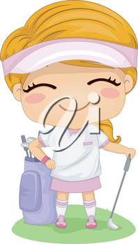 Illustration Featuring a Little Female Golfer