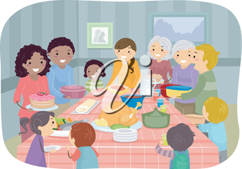 Illustration Featuring a Group of People Enjoying a Potluck Party