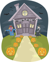 Illustration Featuring a House With Halloween Decorations