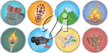 Icon Illustration of Different Items Commonly Associated With Mountaineering