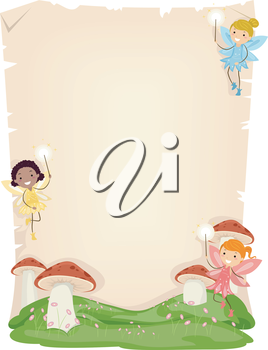 Background Illustration of Cute Little Fairies Hovering Over Mushrooms