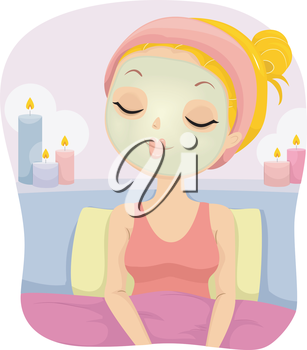 Illustration of a Girl Relaxing on a Bed While Wearing a Facial Mask