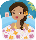 Illustration of a Girl in a Spa Soaking in a Bath Filled With Assorted Flowers