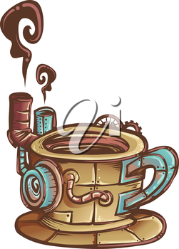 Steampunk Illustration of a Coffee Mug Designed with Cogs and Gears