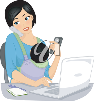 Illustration of a Work at Home Mom Taking Calls While Looking After Her Baby