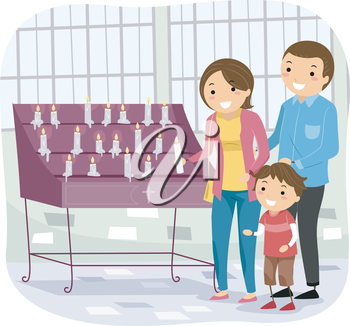 Stickman Illustration of a Family Laying a Votive Candle Down