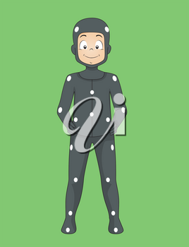 Illustration of a Kid Boy Wearing Tracking Markers  Or Motion Capture Bodysuit and Standing on a Green Backdrop