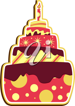 Royalty Free Clipart Image of a Layer Cake With a Candle