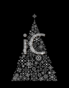 Royalty Free Clipart Image of a Christmas Tree Made of Snowflake