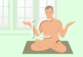 Royalty Free Clipart Image of  a Man in a Yoga Pose