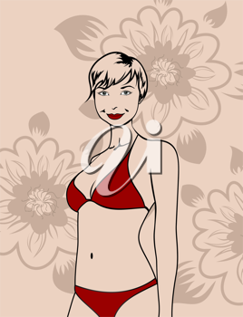 Illustration girl in red bikini on a floral background - vector