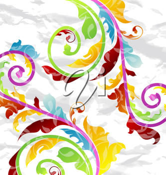 Illustration abstract multicolor floral background, design elements - vector