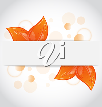 Illustration autumnal seasonal nature background with orange leaves - vector